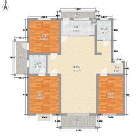 香江花园3室1厅2卫1厨131.00㎡户型图
