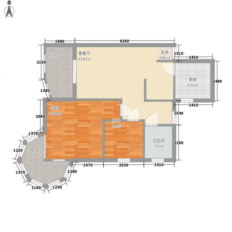 聚仙阁79.81㎡聚仙阁户型图4、5号楼F1户型2室2厅1卫1厨户型2室2厅1卫1厨