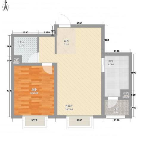 托斯卡纳1室1厅1卫1厨73.00㎡户型图
