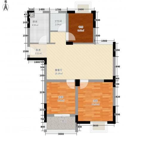 岸上玫瑰3室1厅1卫1厨92.00㎡户型图