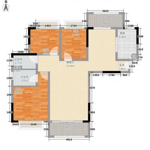 丰泰城市公馆3室1厅2卫1厨112.00㎡户型图