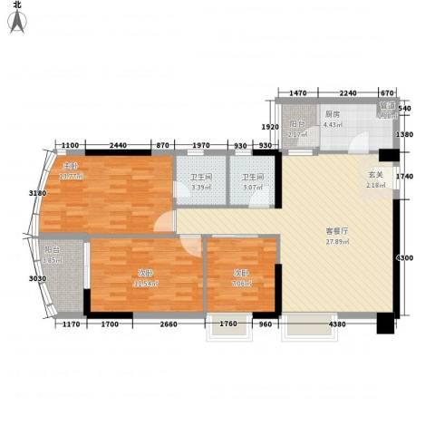 中强雅苑3室1厅2卫1厨110.00㎡户型图