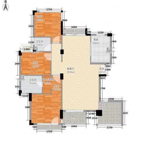 南沙境界・藏峰3室1厅2卫1厨125.00㎡户型图