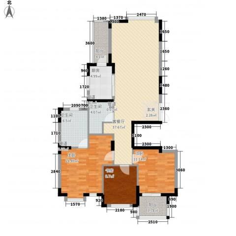 岸上玫瑰3室1厅2卫1厨130.00㎡户型图