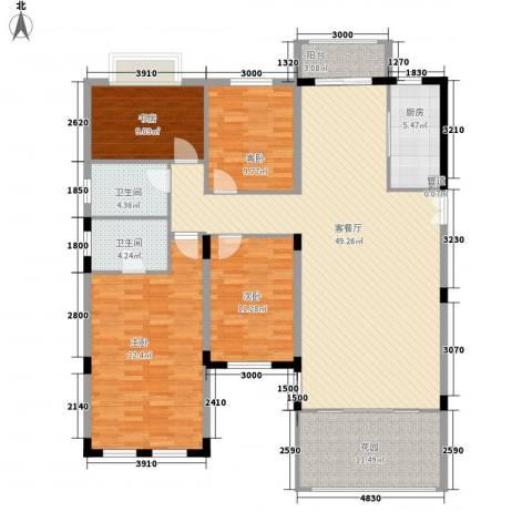 洪客隆地中海阳光4室1厅2卫1厨140.00㎡户型图