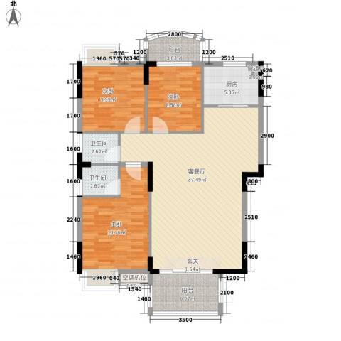 联泰香域滨江桥郡3室1厅2卫1厨89.91㎡户型图