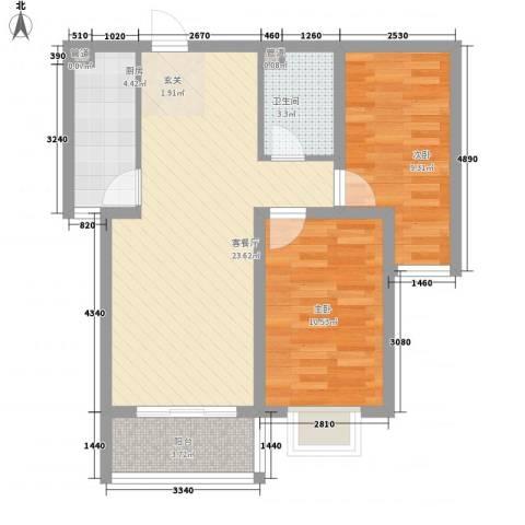 城市西景2室1厅1卫1厨55.06㎡户型图