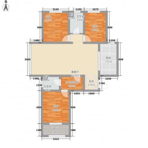 城市西景3室1厅2卫1厨123.00㎡户型图