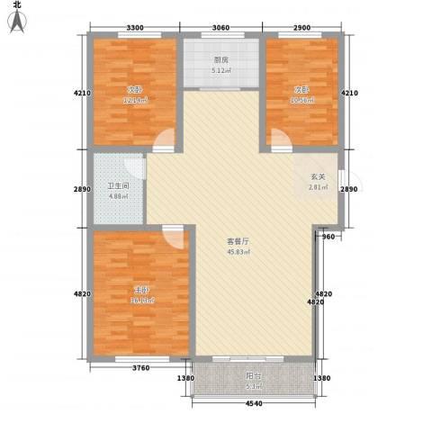 巨海城九区3室1厅1卫1厨140.00㎡户型图