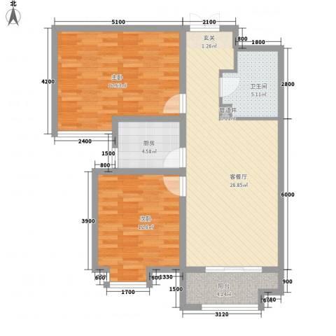 揽盛・金广厦2室1厅1卫1厨102.00㎡户型图