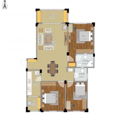 澳海澜庭3室1厅2卫1厨130.00㎡户型图