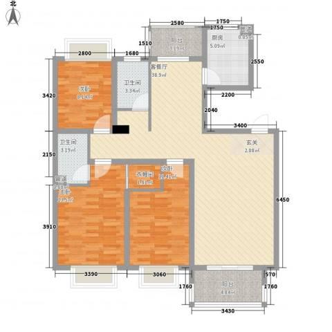 岸上玫瑰3室1厅2卫1厨135.00㎡户型图
