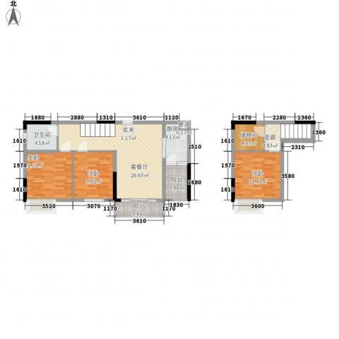 美梦城真3室1厅1卫1厨83.87㎡户型图