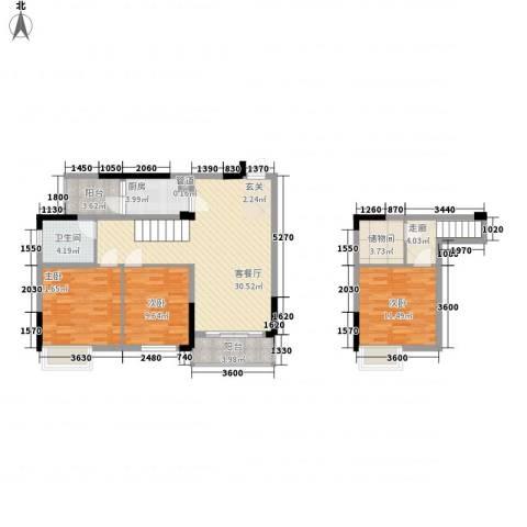 美梦城真3室1厅1卫1厨87.00㎡户型图