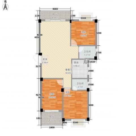农垦厅宿舍3室1厅2卫1厨90.81㎡户型图