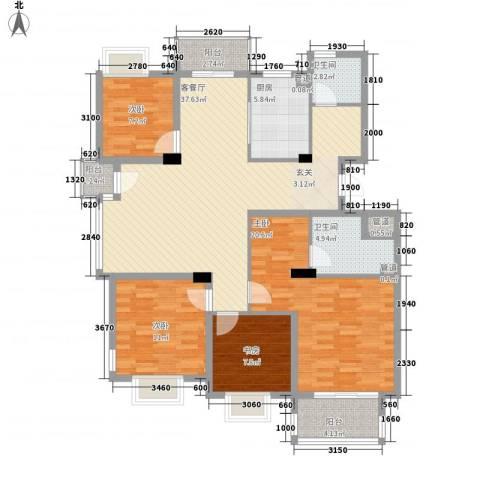 岸上玫瑰4室1厅2卫1厨153.00㎡户型图