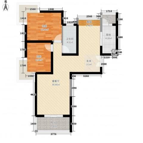 无锡海岸城2室1厅1卫1厨101.00㎡户型图