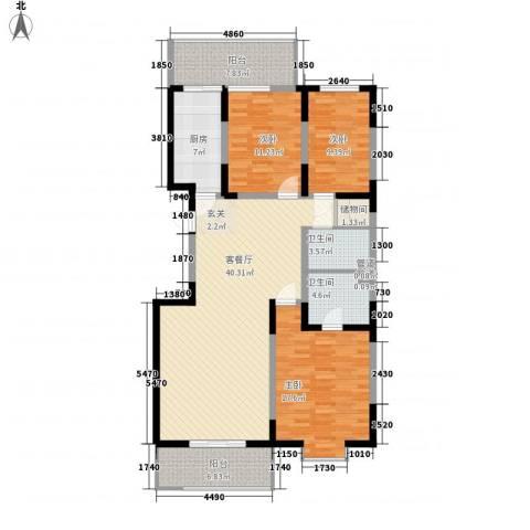天赐园(和平区)3室1厅2卫1厨148.00㎡户型图