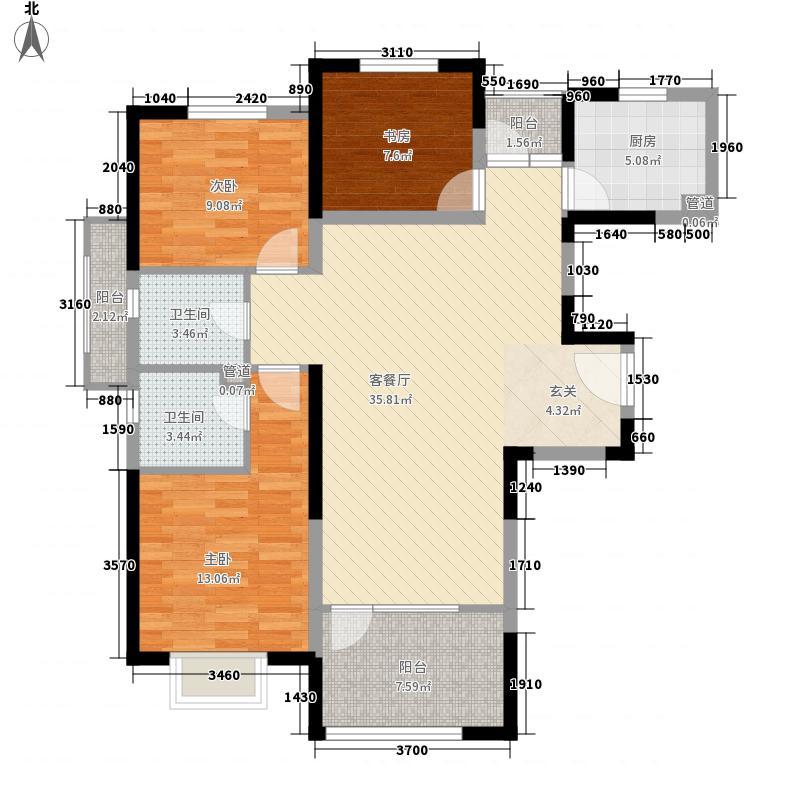 中铁秦皇半岛112.68㎡24、25、26栋户型3室2厅2卫1厨