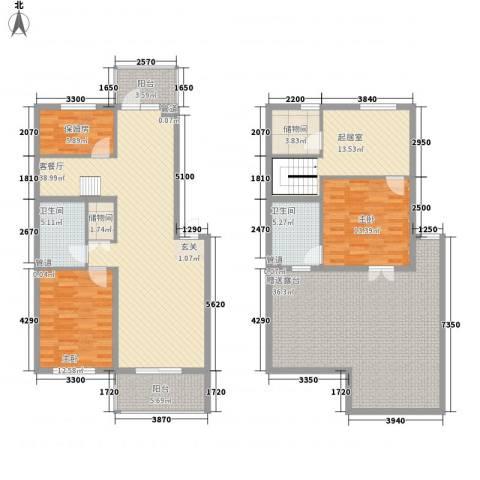 省电视台宿舍2室1厅2卫0厨205.00㎡户型图
