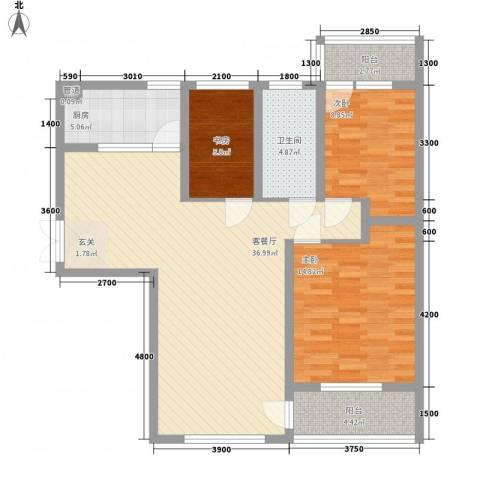 塘西新村3室1厅1卫1厨120.00㎡户型图
