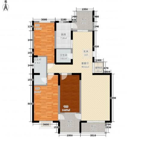 天赐园(和平区)3室1厅2卫1厨180.00㎡户型图