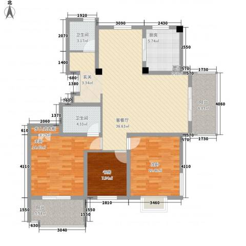 岸上玫瑰3室1厅2卫1厨139.00㎡户型图