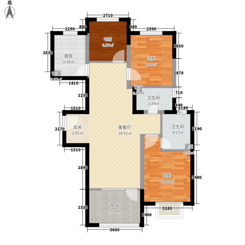 中铁秦皇半岛13.60㎡24、25、26栋户型3室2厅2卫1厨