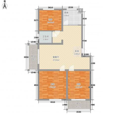 香江花园3室1厅1卫1厨122.00㎡户型图
