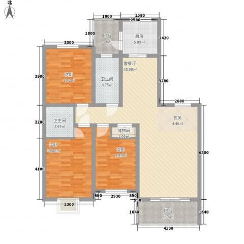 龙华・绿视界项目3室1厅2卫1厨122.00㎡户型图