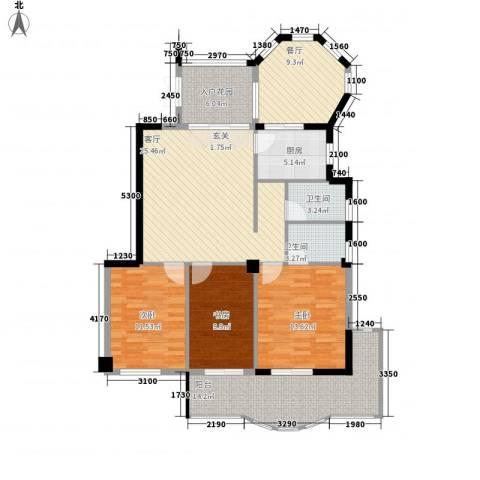 左海帝景3室2厅2卫1厨133.00㎡户型图