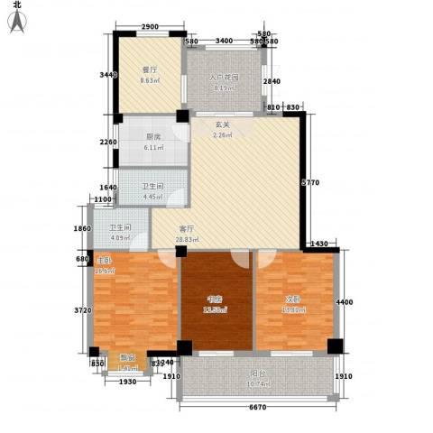 左海帝景3室2厅2卫1厨127.00㎡户型图