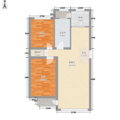 林韵春天2室1厅1卫1厨89.00㎡户型图