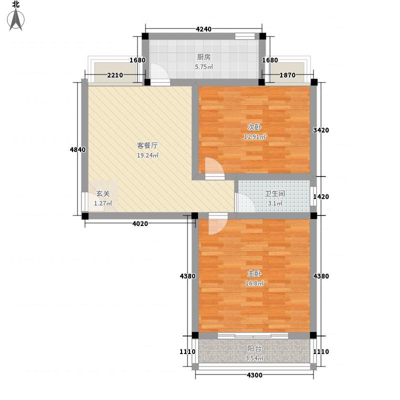 城投美里新居88.71㎡城投美里新居户型图户型图2室1厅1卫户型2室1厅1卫