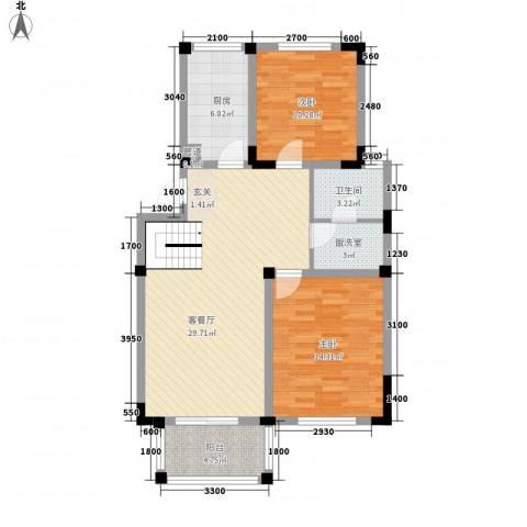 景湖时代城二期2室1厅1卫1厨102.00㎡户型图