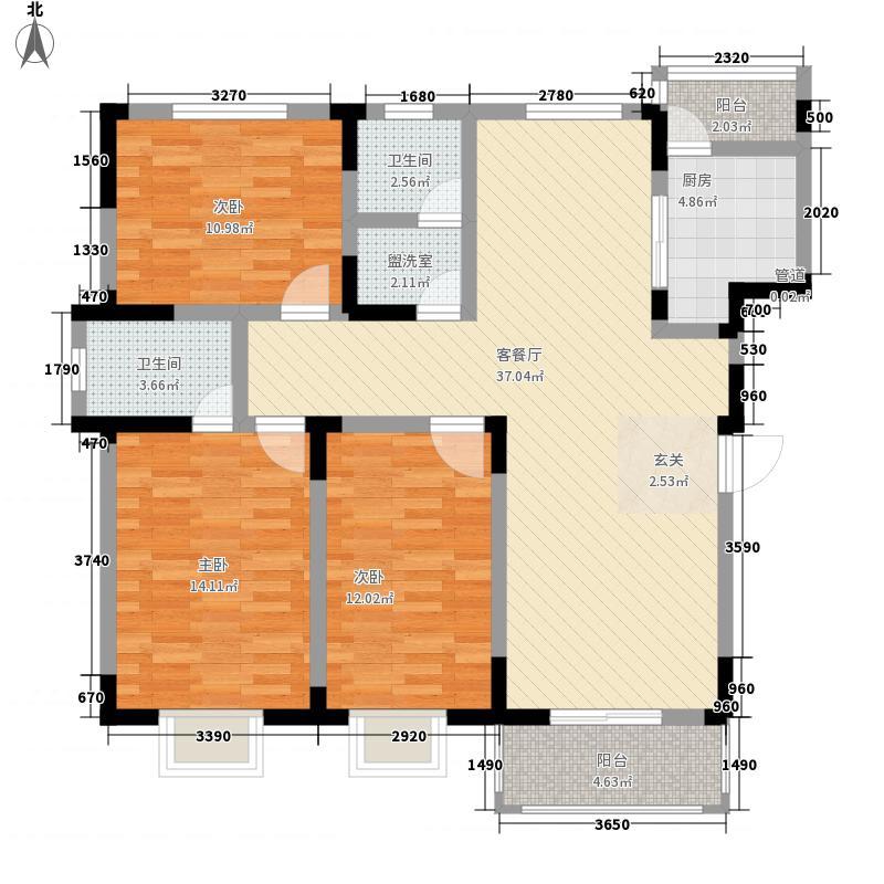 海港新城136.28㎡A户型3室2厅2卫1厨