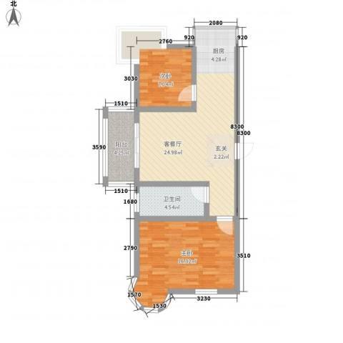 南浦花园2室1厅1卫0厨83.00㎡户型图