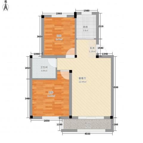 尚格・康桥别院2室1厅1卫1厨80.00㎡户型图