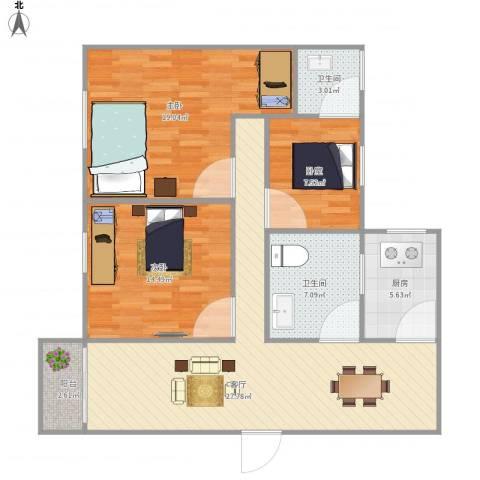 梅花新园2室1厅2卫1厨118.00㎡户型图