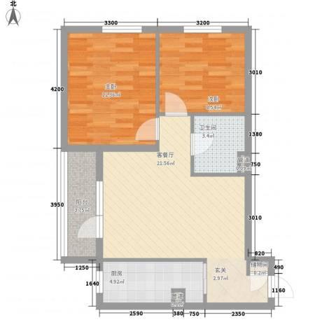 洮昌干警楼2室1厅1卫1厨79.00㎡户型图