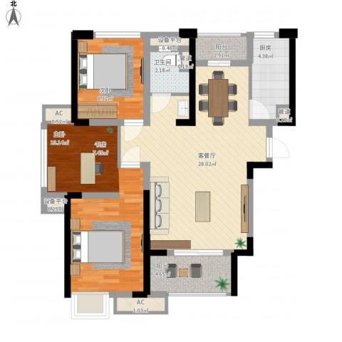 绿地香颂2室1厅1卫1厨105.00㎡户型图