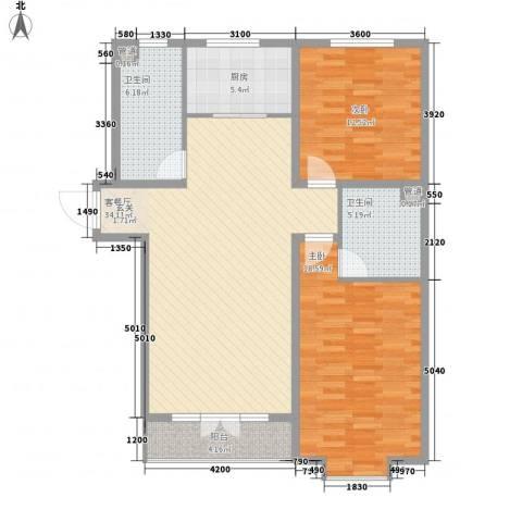 兴华街商务广场2室1厅2卫1厨121.00㎡户型图