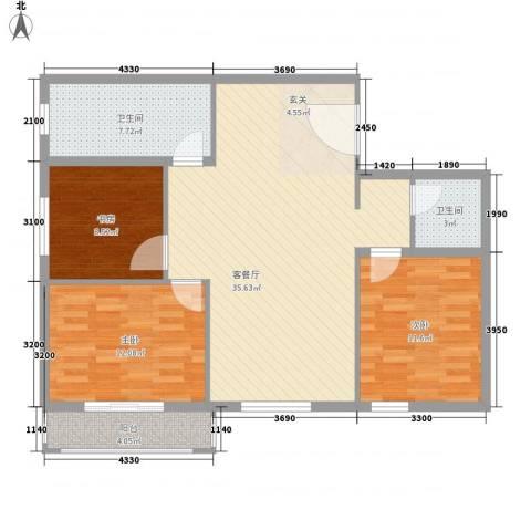 西南花园3室1厅2卫0厨115.00㎡户型图