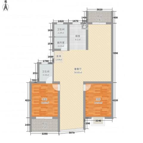 锦盛花园2室1厅2卫0厨139.00㎡户型图