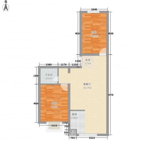 景观花园2室1厅1卫0厨80.00㎡户型图