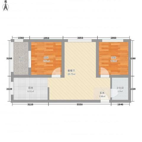 西南花园2室1厅1卫0厨70.00㎡户型图