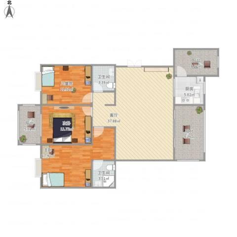 友创・滨河湾3室1厅2卫1厨151.00㎡户型图