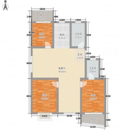 锦盛花园3室1厅2卫0厨129.00㎡户型图