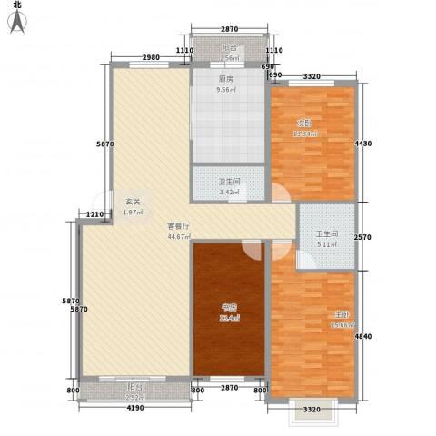 景观花园3室1厅2卫1厨152.00㎡户型图