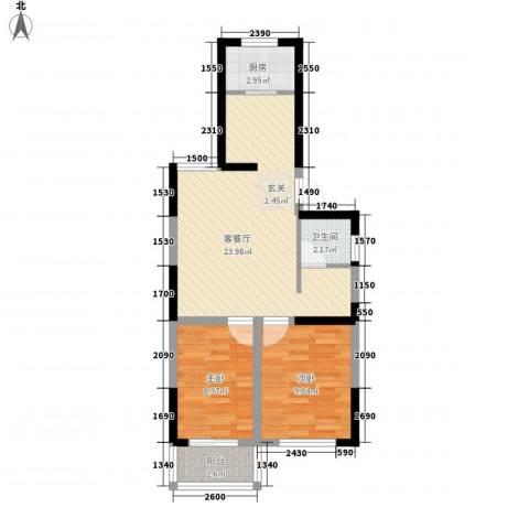 荷花盛世2室1厅1卫1厨71.00㎡户型图